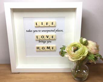 Scrabble wall art, Scrabble picture, Gifts for friends, Gift for children, Leaving home gift