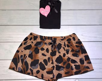 Cheetah short and black tank top