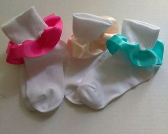Sock set, girls ruffle socks, Church socks, fancy socks, satin ruffle socks, pageant socks, baby ruffle socks, spring socks, Easter socks