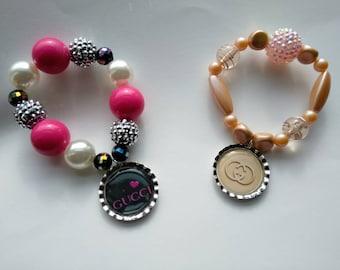 Designer inspired bracelet,  bracelet, Kids inspired breaded bracelet, kids bracelets, bottlecap bracelets, custom bracelet