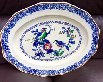 Parrot Booths silicon china meat serving plate two parrots design / booths china made in England 1924-6 / large bird china serving platter