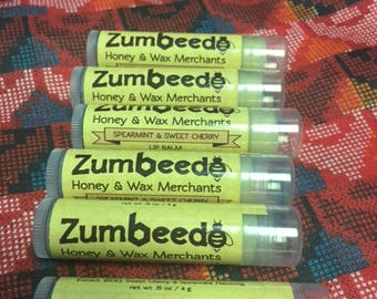 6 pack of Spearmint and Sweet Cherry Beeswax Lip Balm