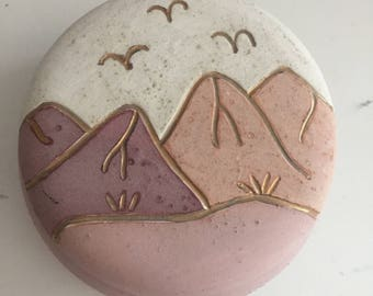 Boho Ceramic Jewelry Box, Boho Trinket Case, Boho Ceramic Lidded Jar