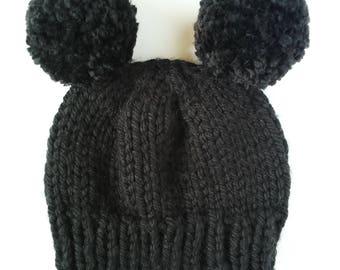 double pom knit beanie, Build your own beanie, custom beanie, unisex bear beanie, custom double pom beanie, custom child beanie, custom knit
