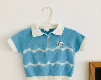 60s baby blue knit sweater, 60s baby sweater, 60s baby knit sweater, 60s collared baby sweater, 60s baby clothes