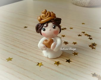 Girl communion favor crown baptism baby shower topper birthday communion favors cake topper polymer clay girl favors