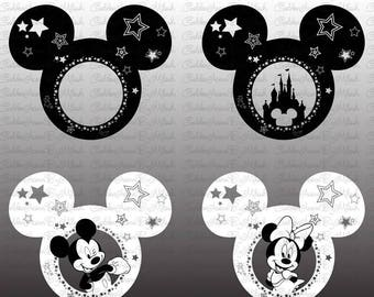 Mickey Mouse Monogram Svg Minnie Mouse Dxf Png Eps Files Vector Disney Castle Disneyland Silhouette mickey mouse head clipart cutting file