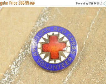 HUGE Sale Enamel American Red Cross Volunteer Round Pin / Brooch Sterling Silver 6.2g