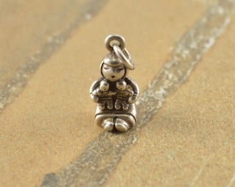 Little Girl Playing with Dolls Charm Sterling Silver 4.5g