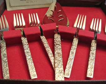 Set of fork and spatula - 24 k - Prestige Cutley & gifts, Inc., New York, Rare