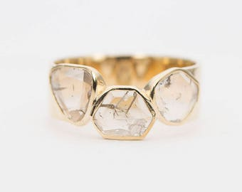 Rose Cut Diamond Slice 14K Gold Ring Rustic Raw Transparent Stacking Band Statement Bezel Set AD1265