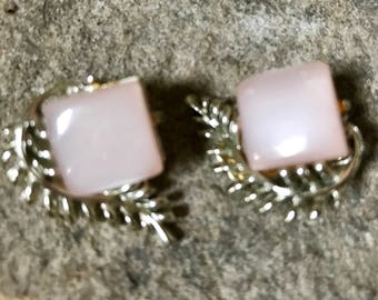 Lucite Earrings - Coro Earrings - Vintage Earrings - Clip On Earrings - Signed Coro Earrings - Moonglow Lucite - Pink Moonglow Earrings