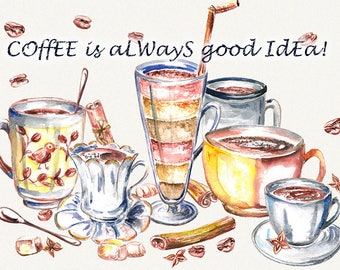 Coffee clipart, coffee cup, food clipart, watercolor coffee, dishes clip art, kitchen decor, hand drawn, Hand Painted, digital watercolor