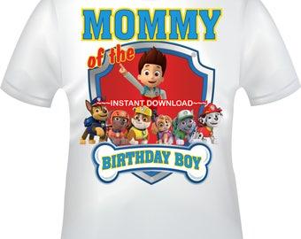 INSTANT DOWNLOAD - Paw Patrol iron on, Paw Patrol Mommy of iron, Paw Patrol T-shirt decal, Paw Patrol Birthday - PAWPATROLMOMMY