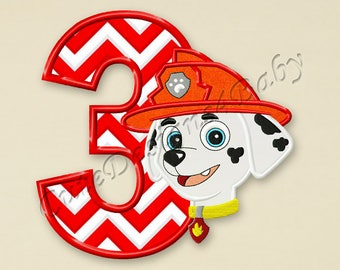 SALE! Paw Patrol Marshall Number 3 applique embroidery design, Paw Patrol Machine Embroidery Designs, designs baby, Instant download #055