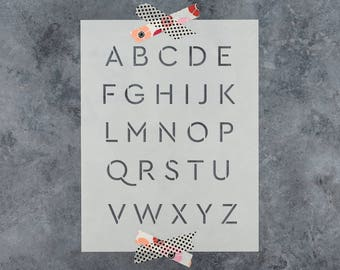 "Alphabet Letter Stencil Set - Reusable Alphabet Stencils in Cera Style Font 1"" or 2"" Inch Letter Sizes"