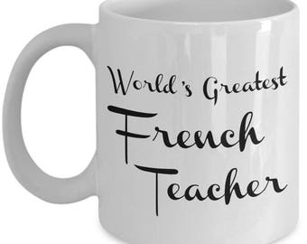 French Teacher Mug Gifts - Teacher Appreciation Gifts for Retired Middle High School Teachers - Women Men - End of Year Gift - Christmas Cup