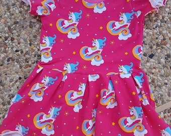 10% off entire store Dress, cotton, jersey, pleated, dress, baby girl, space, galaxy, unicorns, glitter, high low hem