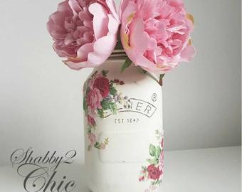 Pretty Hand Painted Shabby Chic 1Ltr Kilner Jar Birthday/Wedding/Housewarming/house decor/Kitchen decor gift