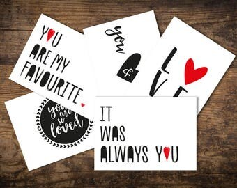 Set of 5 A6 Love Postcards, Black, white, heart, monochrome, You are my favourite, You are so Loved, It was Always You, Love You, You & Me