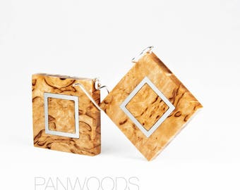 Rhombus wooden earrings, yellow earrings, big wooden earrings, earrings from Curly Birch, wooden jewelry, minimalism earrings PANWOODS