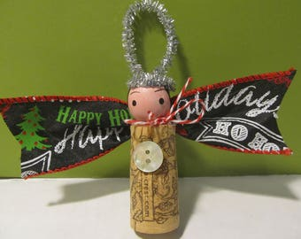 Wine cork angel Christmas ornament holiday gift tag bottle charm OOAK sweet with silver halo, ribbon wings and bow