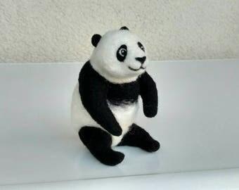 Portable Panda, sculpture, animal, felted, super sweet, felt Panda bear, special gift, Filztier, felt figure, figure, Asia, Zoo