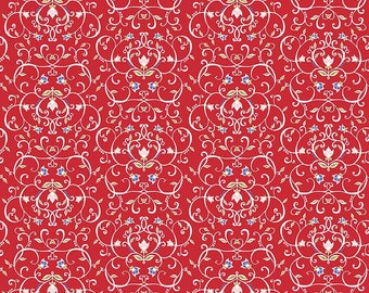 5 Yard Cut - Penny Rose - Jillilly Studios Red Floral - Floral