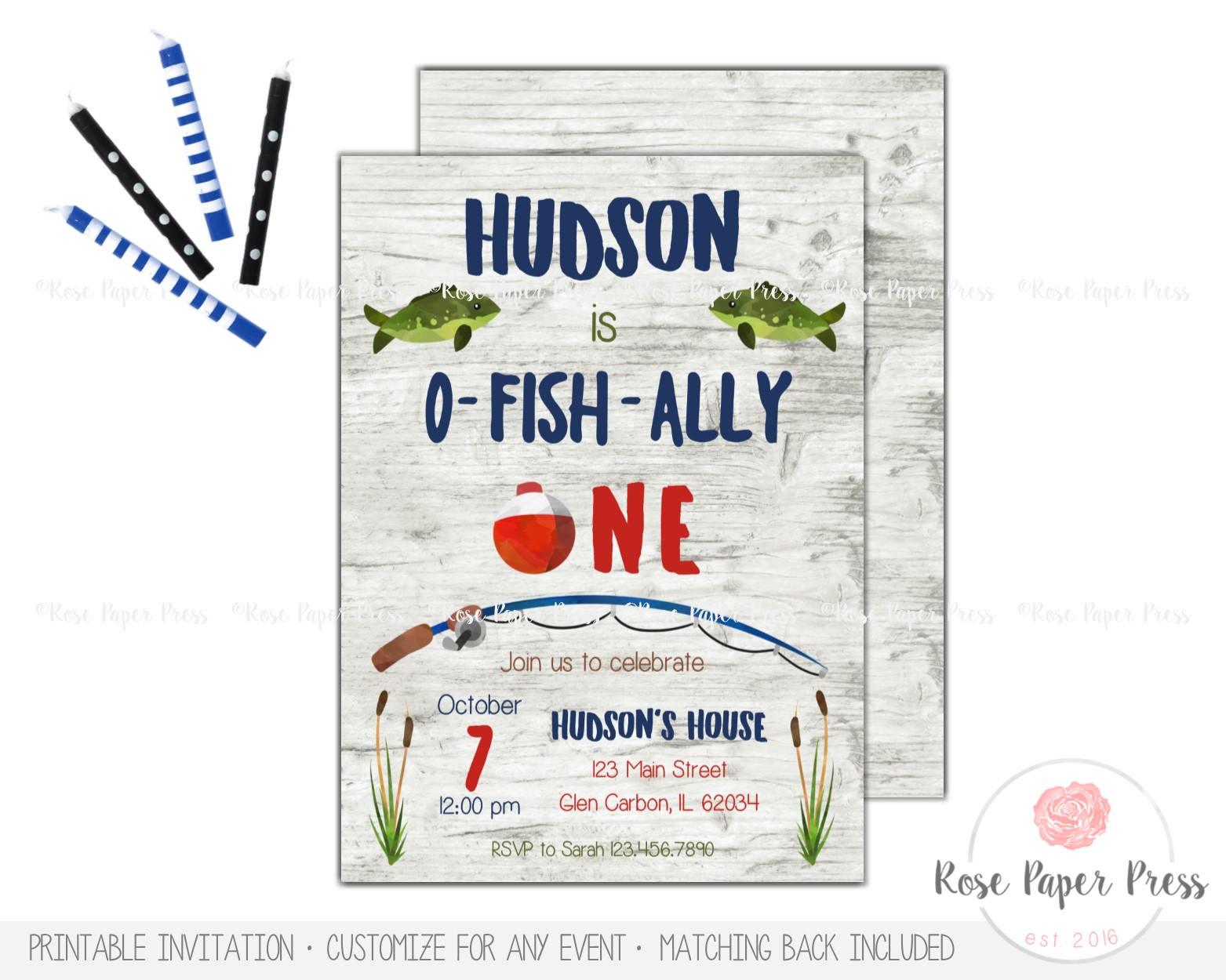 Fishing Birthday Invitation | Ofishally One Invitation | Fish First ...