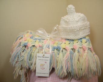 Knit/crochet baby blanket pink/blue /yellow/cream multi baby blanket + FREE knit baby hat with purchase