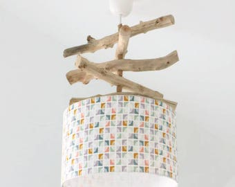 Driftwood - exotic leaves - lamp shade chandelier cylinder 28 cm - cylindrical pendant - round ceiling light