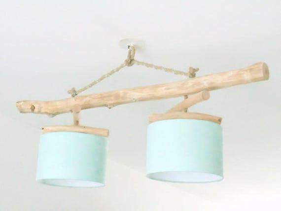 lustre plafonnier en bois flott vert pastel scandinave 28cm. Black Bedroom Furniture Sets. Home Design Ideas