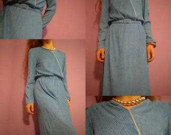 1960s Silky Crystal Blue Persuasion Dress