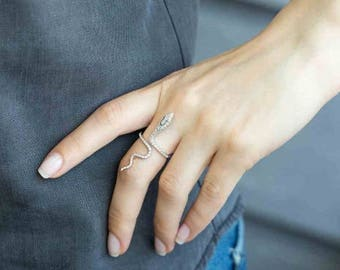 Snake Ring- adjustable ring/sterling silver/jewellery/gift/jewelry/gifts for her/925/rhodium/unique ring/
