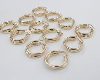 12 Pair 3x20 GOLD hoop earnings for beading, earrings for jewelry making, gold earrings for beading,
