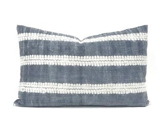 "Hmong pillow cover, 14""x 22"" gray hmong hemp pillow, hmong pillow, hmong batik pillow, batik pillow, hmong stripe pillow"