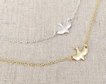 Dove Necklace, Gold Necklace, Silver Necklace, Layering Necklace, Delicate Necklace, Dainty Necklace, Bridesmaid gift, Wedding gift, Birthda