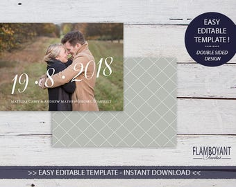 THE DATE -  Save the Date Card - Editable Templates - Custom Photo Save the Date - Printable - Instant Download