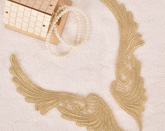 1 Pair Gold Embroidery Lace Applique Trim Appliques DIY Clothing Accessories, WL1636