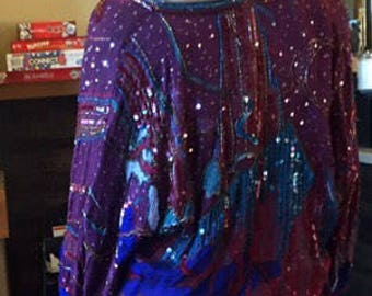 GORGEOUS Boho Luxe Beaded Silk pullover tunic-y elasticized waist this-is-everything top