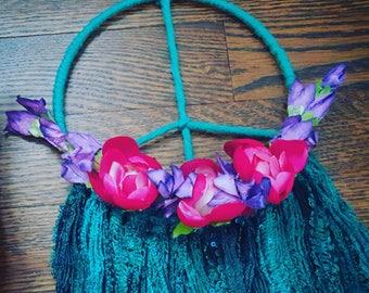 dreamcatcher, dream catcher, nursery baby dreamcatcher, flower floral bohemian peace dreamcatcher, teal turquoise purple pink dreamcatcher
