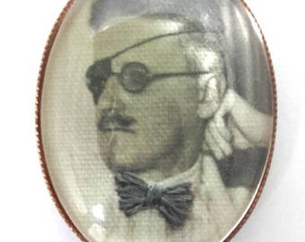 James Joyce hand embroidered brooch