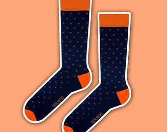 Harvey - elegant orange polka dot navy socks | wedding socks | formal socks | gift socks | business socks | colorful socks | cotton socks