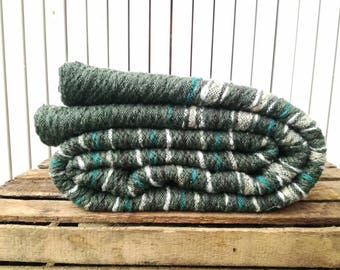 Blanket; Green striped wool blanket; wool sofa blanket; handwoven bed cover; woven bedspread