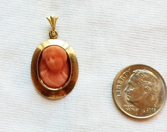 "Estate 10K Yellow Gold Carved Coral Cameo Pendant Victorian 1"" long for Necklace 2.1g 10 k kt 10kt Salmon Woman Lady 3D Raised"
