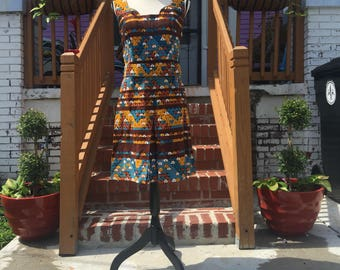 Vintage Handmade Brown Patterned Dress with Belt