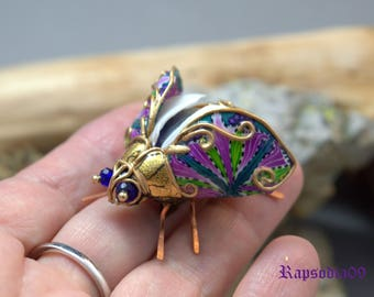 Jewelry Brooch jewelry Insect jewelry Beetle brooch Beetle jewelry Statement jewelry Polymer clay jewelry