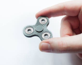 Micro Fidget Spinner - Silver or Black 3D Printed Mini Tri Spinner with spiral pattern - hand spinner desk toy nano