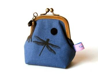 Porte monnaie rétro porte monnaie pour femme tissu bleu  Dragonfly