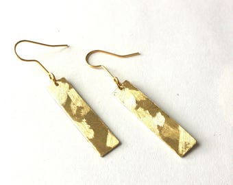 Geometric brass rectangle shape gold earrings textured geometric earrings in gold brass
